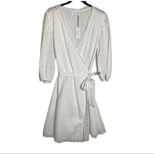 Velvet Merina White Eyelet Wrap Dress Size Small
